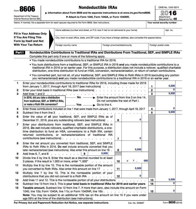 Form 8606 - Backdoor Roth IRA