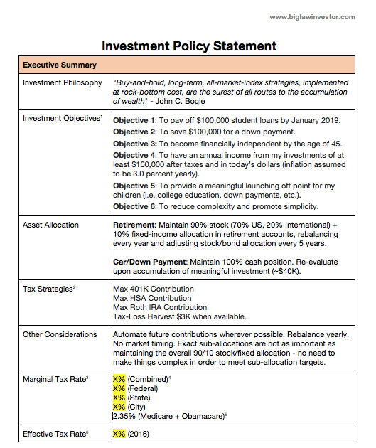 How to Write an Investing Plan The Biglaw Investor – Investment Policy Statement